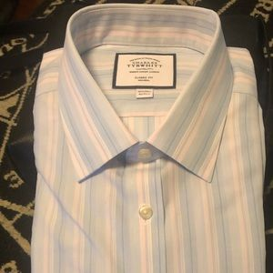 Charles Tyrwitt classic fit blue and pink stripe